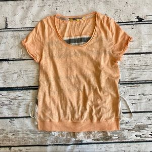 Anthropologie Little Yellow Button Peach top